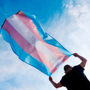 Trans flag against sky (creating Transgender inclusive workplaces)