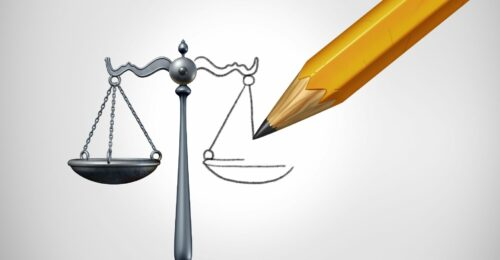 A graphic illustration of a pencil finishing off a drawing of the justice scales