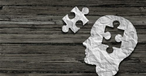 An image of a paper human head with a puzzle piece cut out of it, and the puzzle piece sits to the left hand side of the head.